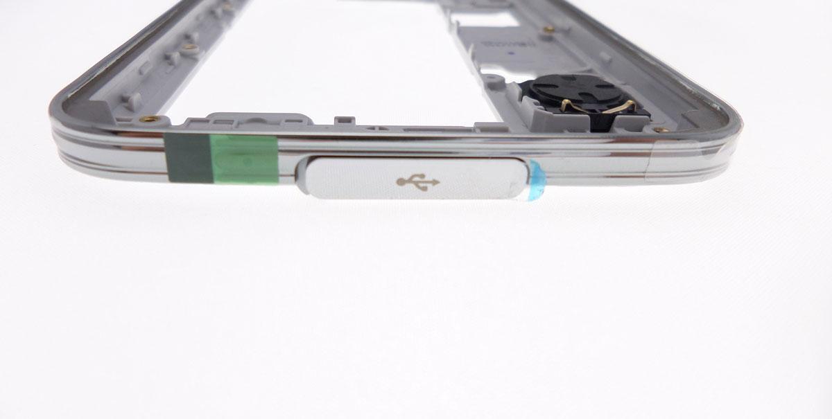 Cache du port USB et HDMI argenté pour Samsung Galaxy S5 SM-G900F G900A