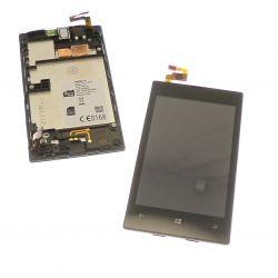 Ecran vitre tactile et LCD sur châssis noir compatbile sans logo Nokia Lumia 520