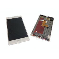 Ecran vitre tactile et LCD assemblés avec chassis blanc pour Huawei Ascend P7