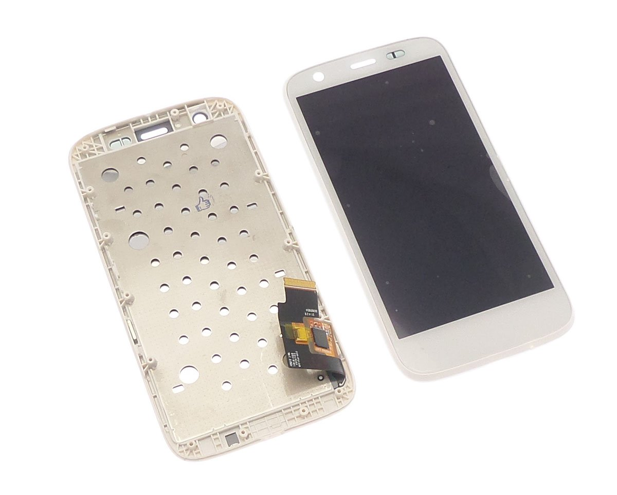 Ecran vitre tactile et LCD assemblés sur châssis blancs pour Motorola Moto G Xt1032