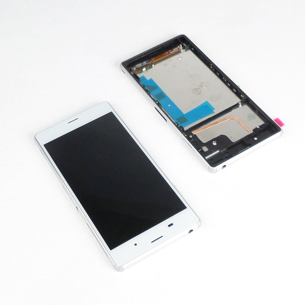 Ecran vitre tactile et LCD assemblés sur châssis blanc compatible Sony Xperia Z3 L55t D6603,D6633,D6643,D6653,D6616